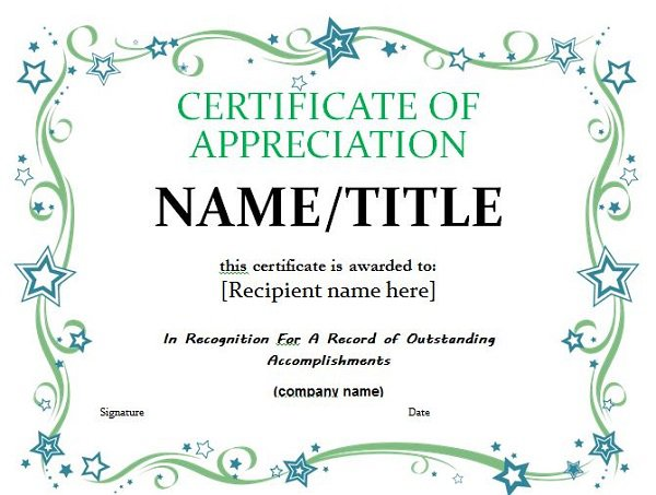 Printable certificate of appreciation certificate of for Pastor appreciation certificate template free